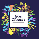 Dê o cartão dos agradecimentos para o dia da ação de graças Fotos de Stock