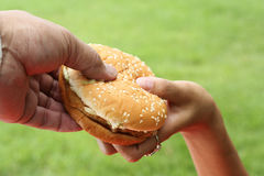 Dê o hamburguer foto de stock