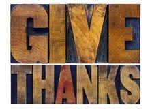 Dê o sumário da palavra dos agradecimentos - conceito da ação de graças Fotos de Stock