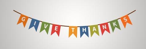 Dê o texto dos agradecimentos Decorações do feriado Elemento do projeto ilustração do vetor