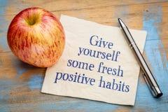 Dê-se alguns hábitos positivos frescos Fotografia de Stock
