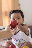 Dê uma maçã Imagem de Stock