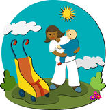 Dê uma volta com o baby-sitter Foto de Stock Royalty Free
