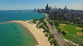 Día aéreo de Illinois Chicago almacen de metraje de vídeo