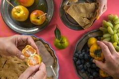 Día americano tradicional de la acción de gracias, primer del banquete Fotos de archivo