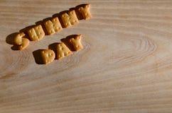 Día asoleado Letras comestibles Fotografía de archivo libre de regalías