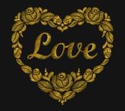 Día brillante de la tarjeta del día de San Valentín s del amor de la palabra de la hoja de las rosas del corazón de oro del borda Imágenes de archivo libres de regalías