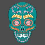 Día coloreado de Sugar Skull muerto con el ornamento Ilustración del vector Fotos de archivo