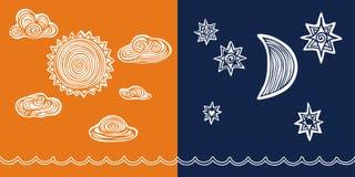 Día contra La luna de Sun de la noche se nubla las estrellas Imagen de archivo libre de regalías