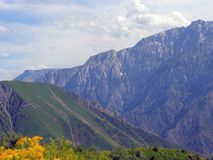 Día cubierto en montañas Fotografía de archivo