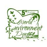 Día de ambiente de mundo Diseño de tarjeta verde de letras Fotografía de archivo libre de regalías