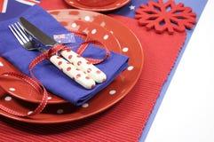 Día de Australia, Anzac Day o cubierto festivo australiano del día o nacional del evento de la mesa de comedor Foto de archivo libre de regalías