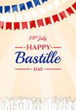 Día de Bastille feliz, el 14 de julio Día de fiesta francés stock de ilustración