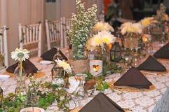 Día de boda de la decoración de la mesa de comedor Foto de archivo