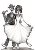 Día de boda del arte del cráneo de los muertos ilustración del vector
