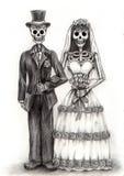 Día de boda del arte del cráneo de los muertos Gráfico de la mano en el papel stock de ilustración