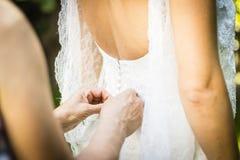 Día de boda del vestido de boda Fotografía de archivo libre de regalías