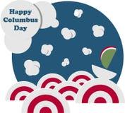 Día de Colón feliz Marine Landscape con las naves ilustración del vector