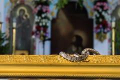 Día de Dormition de Virgen María, el 15 de agosto en el pueblo de Arginia en Kefalonia Grecia fotografía de archivo