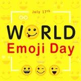 Día de Emoji del mundo con las letras de la línea emoticons del arte Imágenes de archivo libres de regalías