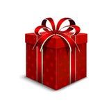 día de empaquetado del ` s de la tarjeta del día de San Valentín 3d Caja de regalo realista con un colo rojo Imagen de archivo libre de regalías