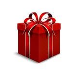 día de empaquetado del ` s de la tarjeta del día de San Valentín 3d Paquete realista con color rojo Fotografía de archivo libre de regalías