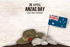 Día de fiesta conmemorativo del aniversario de las amapolas de Anzac Day A fin de olvidemos Cartel o greeti del día de la conmemo Fotografía de archivo