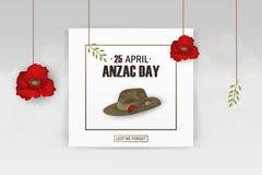Día de fiesta conmemorativo del aniversario de las amapolas de Anzac Day A fin de olvidemos Cartel o greeti del día de la conmemo Imagen de archivo