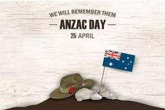 Día de fiesta conmemorativo del aniversario de las amapolas de Anzac Day Los recordaremos Cartel del día de la conmemoración de l Fotografía de archivo libre de regalías