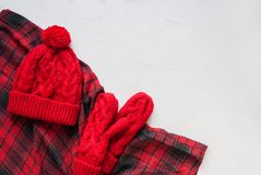 Día de fiesta a cuadros hecho punto de la tela escocesa de la manopla del sombrero Fotografía de archivo
