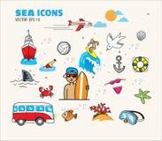 Día de fiesta de la playa del mar del icono Fotos de archivo