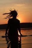 Día de fiesta de la puesta del sol en el lago Fotografía de archivo libre de regalías