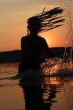 Día de fiesta de la puesta del sol en el lago Fotos de archivo libres de regalías