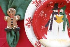 Día de fiesta de la tabla de la Navidad que cena el arreglo del ajuste de la cena Fotografía de archivo