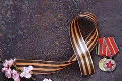 Día de fiesta de las flores de la cinta y de la primavera de Victory Day Imagenes de archivo