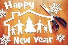 Día de fiesta del Año Nuevo y familia feliz Fotografía de archivo libre de regalías