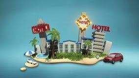Día de fiesta del icono del hotel, casino, natación, ciudad Viajes libre illustration