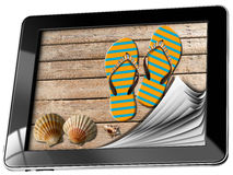 Día de fiesta del mar en tableta con las páginas Fotos de archivo