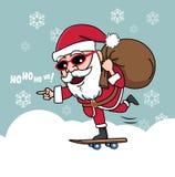 Día de fiesta del monopatín de los regalos de la Navidad de Papá Noel Imágenes de archivo libres de regalías