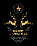 Día de fiesta elegante de los ciervos de la etiqueta del oro del Año Nuevo de la Navidad stock de ilustración