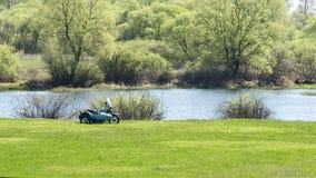 Día de fiesta en la naturaleza en la primavera cerca del lago Foto de archivo libre de regalías