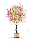 Día de fiesta feliz, árbol divertido con los globos en crisol Foto de archivo