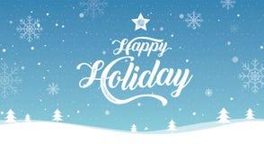Día de fiesta feliz, Feliz Navidad, Feliz Año Nuevo, invierno del paisaje, ejemplo del vector ilustración del vector