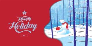 Día de fiesta feliz, Feliz Navidad, Feliz Año Nuevo, oso polar, venta, invierno del paisaje, ejemplo del vector libre illustration