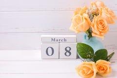 Día de fiesta fondo del 8 de marzo con las flores Fotografía de archivo libre de regalías