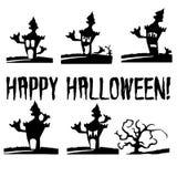 Día de fiesta Halloween, emociones del castillo, silueta en un whi ilustración del vector
