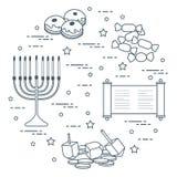 Día de fiesta judío Jánuca: dreidel, sivivon, menorah, monedas, anillos de espuma y otro stock de ilustración