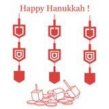 Día de fiesta judío Jánuca: dreidel, sivivon, monedas y garla de papel