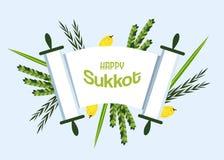 Día de fiesta judío Sukkot torah con Lulav, Etrog, Arava y Hadas ilustración del vector