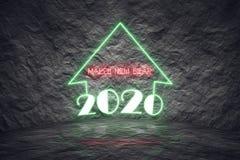 día de fiesta 2020 de la Navidad como luces de neón coloridas con dessi moderno Fotos de archivo libres de regalías
